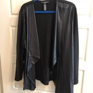 NWT Style and Co leather look front cardigan 3x